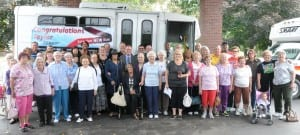 Photo courtesy of the city of Taylor. Bus riders at the William D. Ford Senior Activities Center joined SMART and city officials for the dedication of two new buses that joined the public transportation fleet. Among the attendees at Monday's ceremony were Mayor Rick Sollars; City Clerk Cindy Bowers; City Councilors Angela Croft, Alex Garza and Tim Woolley; Senior Center events coordinator Lori Runkle; and Director of Golf, Parks and Recreation Jeff Dobek.