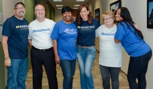 Photo courtesy of Beaumont Health. The three matched pairs:kidney recipient David Hostetler (left) of Colon, donor Tom Ash of White Lake; recipient Kim Yarbrough of Detroit, donor Tricia Meyer of Colon; and recipient Lisa Ash of White Lake, donor Markeshia Valentine of Dearborn Heights.