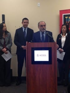 Photo by Zeinab Najm. State Rep. Stephanie Chang (left), Oakland County Treasurer Andy Meisner, ACCESS Executive Director Hassan Jaber and UAW Vice President Cindy Estrada speak about their opposition toward H.R. 4038 during a press conference at ACCESS headquarters Dec. 2.