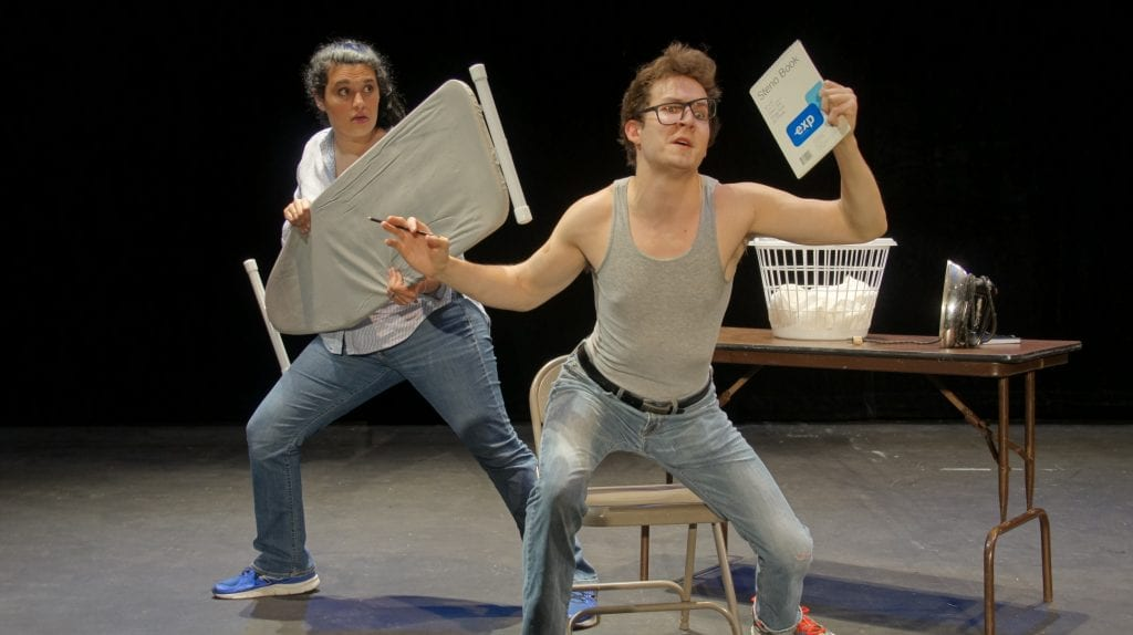 """Photo by Alan Contino Jennifer Popovich (left) of Howell and Zach Ross of Dearborn play multiple roles in Henry Ford College's production of the romantic comedy """"Almost Maine,"""" which runs 8 p.m. June 15 to 17, June 29, 30 and July 1, and 2 p.m. June 18 and July 2. For tickets or more information go to theatre.hfcc.edu."""