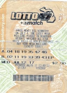 Photo courtesy of the Michigan Lottery Public Relations Division A Detroit man won $2 million in the July 12 Lotto 47 drawing. The ticket was bought at a Dearborn pharmacy.