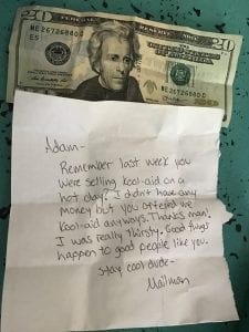 Photo courtesy of Krista Carone A letter and $20 was given to Dearborn resident Adam Houssami by his postal carrier after the boy gave him a free cup of Kool-Aid last week.