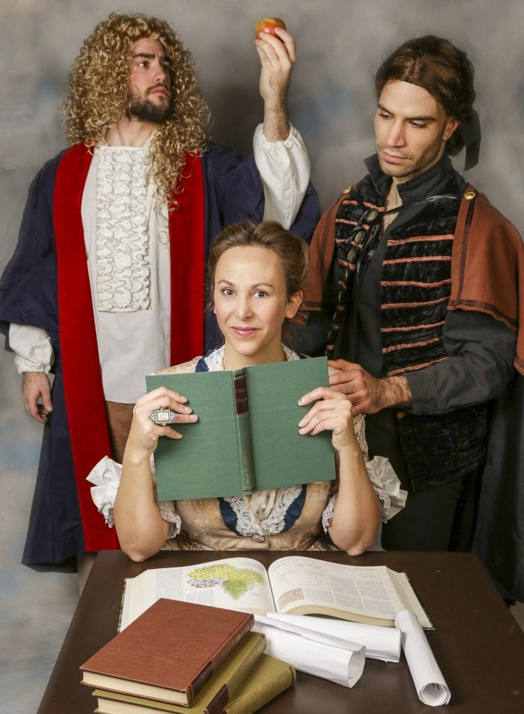 """Photo by Jan Cartwright The Open Book Theatre of Trenton presents """"Emilie: La Marquise Du Chatelet Defends Her Life Tonight"""" Jan. 12 to Feb. 3, with Matthew Wallace (left) of Royal Oak as Newton, Krista Schafer Ewbank of Grosse Ile Township as Emilie and Jonathan Davidson of Detroit as Voltaire. For tickets or more information, call 734-288-7753 or go to openbooktheatrecompany.net."""