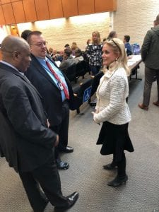 Photo courtesy of Hannah Smith State Rep. Ronnie Peterson (left D-54th District), Taylor City Treasurer Ed Bourassa and U.S. Rep. Debbie Dingell (D-Dearborn) prepare for the town hall meeting Jan. 13 at Taylor City Hall.