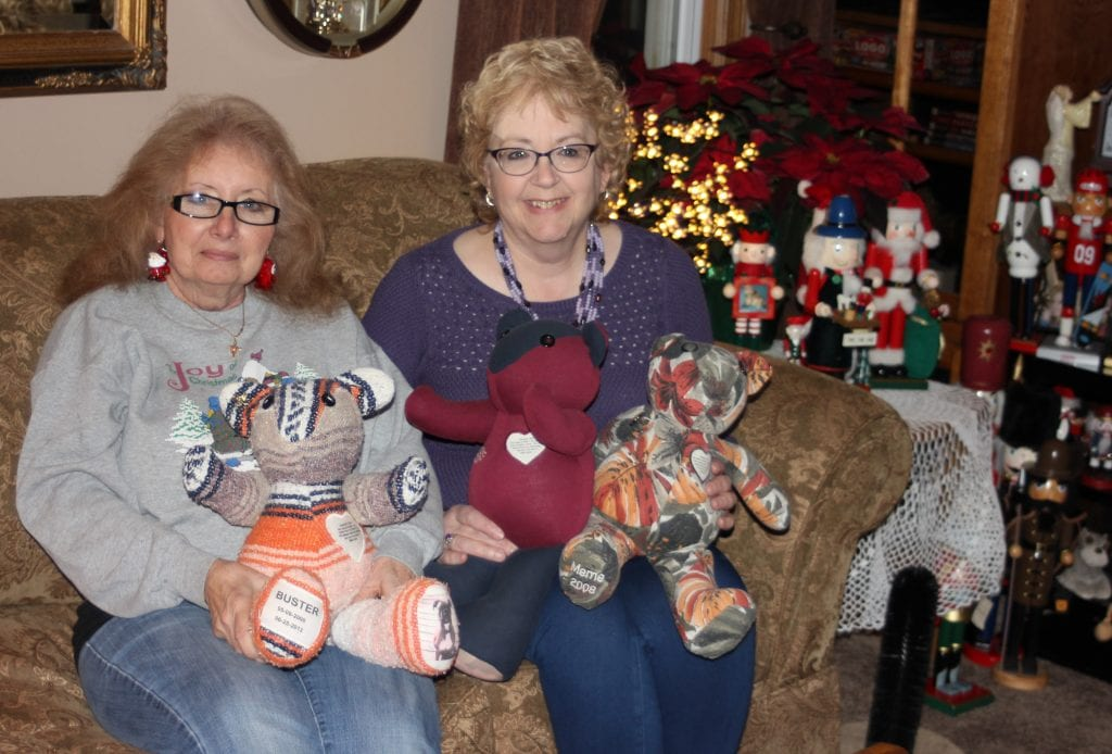 """Photo by Sue Suchyta Donna """"Susie"""" Smith (left) and Kathy Waynick of Allen Park display some of the Memory Bears they have made for people from the clothing of deceased loved ones."""
