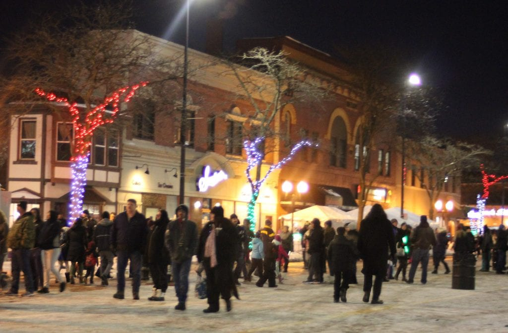 The below-freezing kept the street from becoming too crowded shortly before the 9 p.m. ball drop.