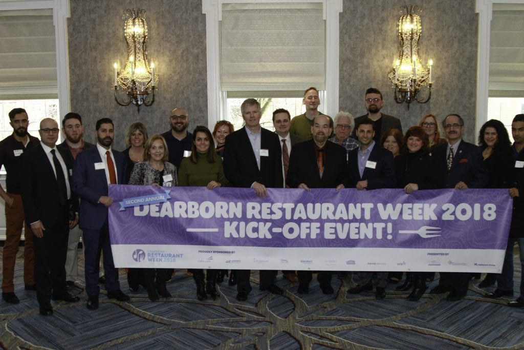 Photo courtesy of the Dearborn Area Chamber of Commerce Dignitaries and city officials turned out en masse Feb. 1 for the kickoff for Dearborn Restaurant Week. Officials include: Mayor John O'Reilly Jr.; Doug Van Noord of Ford Land; City Council President Susan Dabaja; City Council Member Leslie Herrick; WDDDA chair Karen Nigosian; WDDDA board members Tom Clark, Mohamad Hider and Jackie Lovejoy; EDDDA Chairman Dan Merritt, director of the WDDDA and Downtown Dearborn Cristina Sheppard-Decius and Eric Woody of Beaumont Health.