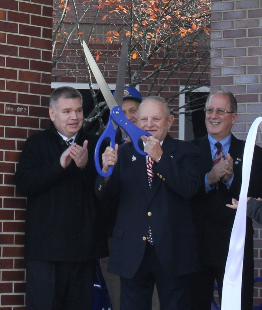 Photo by Sue Suchyta Kirk Borger (left), with City Councilman Elmer Trombley and Mayor Andrew Swift at the Nov. 11, 2017, Veterans Day renaming of the library the Riverview Veterans Memorial Library.