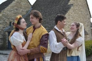 "Photo by Cynthia Frabutt Dearborn High School presents ""Kiss Me, Kate,"" with double casting in most roles, including Scout Greimel (left) as Lilli Vanessi and Kate, and Graham Dallas as Fred Graham and Petruchio, at 7:30 p.m. April 26 and April 28, and Devin Young as Fred Graham and Petruchio, and Heather Slanec as Lilli Vanessi and Kate, 7:30 p.m. April 27 and 3 p.m. April 29 in Valentine Auditorium, 19501 W. Outer Drive in Dearborn."