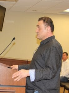 Photo by Sue Suchyta Mark Srour, owner of Belicoso Martini and Cigar Bar, spoke at the April 16 City Council meeting about the need for outdoor cafes to stay open later for bars to remain profitable.