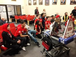 Photo by Sue Suchyta The Melvindale High School award-winning robotics club made a presentation describing their inaugural year at the April 18 city council meeting.