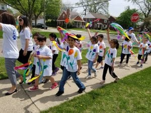 Photo Courtesy of the City of Dearborn Becker Elementary School students enthusiastically started the first Clean Up Parade of 2018 on May 9. The parades, and other City Beautiful Commission inspired activities, continue through May 24.