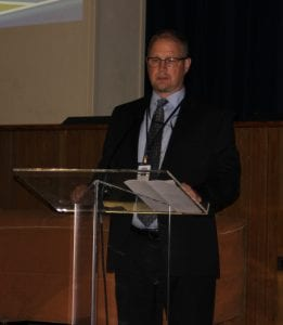 Photo by Sue Suchyta Trenton Public Schools Supt. Rod Wakeham said at an April 24 school safety forum that some of the building changes needed to address safety concerns could be funded by the millage, which residents subsequently approved in the May 8 special election.