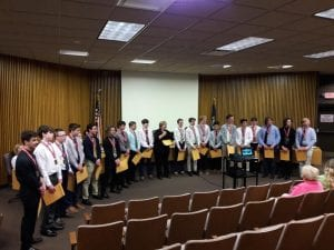 Photo by Sue Suchyta The Trenton JV Prep hockey team was honored by Mayor Kyle Stack and city officials at the Trenton Council Council meeting April 30 after they defeated Plymouth to win the Great Lakes Prep JV Hockey League state championship March 15 at the Farmington Hills Ice Arena.