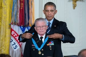 President Barack Obama presents the Medal of Honor to retired U.S. Army Lieutenant Colonel Charles Kettles for conspicuous gallantry, in the East Room of the White House, July 18, 2016. Then-Major Kettles distinguished himself in combat operations near Duc Pho, Republic of Vietnam, on May 15, 1967 and is credited with saving the lives of 40 soldiers and four of his own crew members.  (Official White House Photo by Chuck Kennedy)