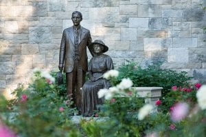 Photo courtesy of Metromode Media An unveiling of the Henry and Clara Ford bronze statues was held June 13.