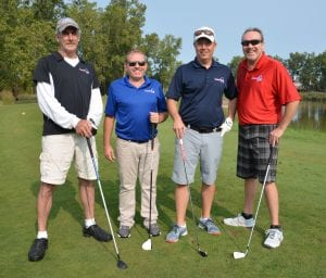 Photo courtesy of Fish & Loaves Community Food Bank The foursome of John Wrixon, John Garity, Alex Todd and Bryan Welsh won the 2017 Fish & Loaves Par for the Course golf outing.