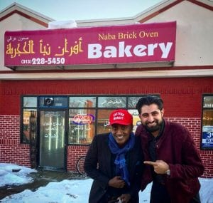 "Photo courtesy of Salwan Georges  Chef Marcus Samuelsson (left) and Washington Post photojournalist Salwan Georges visit the Naba Brick Oven Bakery, 15723 W. Warren Ave. in Detroit, to film a segment for ""No Passport Required"" in February."