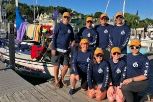 Photo courtesy of Tim Branson Sea Scouts from St. Sebastian Church Troop 1148 Becky Washburn (front row left), Sara Mazurek, Caitlin Parton, Rachel Washburn, Bill Tilley (back row left), Caleb Parton, Skipper and Advisor Tim Branson, and Billy Stimson, competed in their first 2018 Bell's Beer Bayview Mackinac Race July 14 to 17.