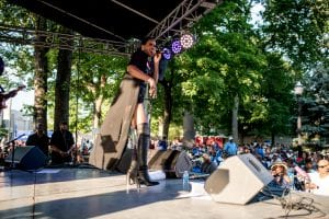 Photo by Stephen Koss The Jazz on the Ave music series, Wednesdays in City Hall Park, runs through Aug. 15.