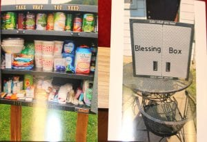 "Photo courtesy of Robert Stroud A blessing box, open (left) and closed (right) has a sign encouraging people to ""Take what you need, give what you can."" The group plans to place a box outside of the Melvindale police station."