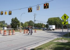 Photo courtesy of Beaumont Hospital, Dearborn A new High-Intensity Activated Crosswalk, or HAWK, was installed to make pedestrian crossing safer across four-lane Oakwood Boulevard for those traveling to and from Beaumont Hospital, Dearborn.
