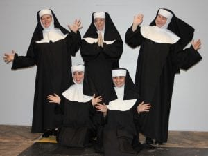 "Photo by Sue Suchyta The Downriver Actors Guild presents the musical comedy ""Nunsense,"" with Pamela Gunderson (left), of Muskegon as the Mistress of Novices, Sister Mary Hubert; Ashley Gatesy of Westland as Sister Robert Anne; Jema McCardell of Trenton as Mother Superior, Sister Regina; Sydney Bramlett of Canton Township as Sister Leo; and Jaclyn Duvall of Dearborn as Sister Mary Amnesia. The show runs Sept. 7 to 16 at the Catherine A. Daly Theatre on the Avenue, 2656 Biddle Avenue, Wyandotte. For Tickets or more information, call 734-407-7020 or go to downriveractorsguild.net."