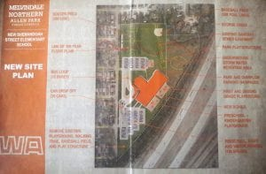 The Melvindale-Northern Allen Park School District has commissioned plans for a new school, Shenandoah Street Elementary, to replace the aging nearby Rogers Early Elementary, 5000 Shenandoah Ave. The site plan calls for a baseball field to replace the existing soccer field, for additional parking, new playgrounds and an underground storm water retention pond. The plans will be subject to approval by voters, possibly in the spring. The new structure would be south of the existing building to avoid losing classroom space during construction, and unlike Rogers, would be beyond the line of the estimated 100-year flood plain from nearby Ecorse Creek.