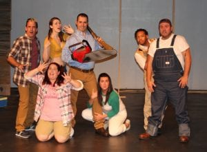 """Photo by Sue Suchyta The Downriver Actors Guild presents """"Evil Dead – the Musical"""" at 7:30 p.m. Oct. 5, 6, 12 and 13, with Leo McMaster (left), of Rockwood as Scott, Melanie Aue of Taylor as Cheryl, Kimberly Elliott of Canton Township as Shelly and Annie, Bryan Aue of Taylor as Ash, Kayla Younkin of Southgate as Linda, Jaavon Arnold of Westland as Ed and Sam Ramirez of Wyandotte as Jake at the Catherine A. Daly Theatre on the Avenue, 2656 Biddle Ave., Wyandotte. For tickets or more information, call 734-407-7020 or go to downriveractorsguild.net."""