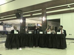 Photo by Zeinab Najm Candidates running for Dearborn Public Schools Board of Education seats answer questions during a election forum Oct. 10 hosted by the Fordson High School Arab Student Union and the Fordson Parent Teacher Student Association at FHS.