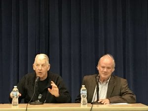 """Photo by Zeinab Najm Former Detroit Tigers pitcher Mickey Lolich (left) and former Detroit Tigers beat writer Tom Gage answer questions from an audience about their book, """"A Joy in Tigertown: A resilient city and our magical run to the 1968 World Series"""" Nov. 1 at Henry Ford Centennial Library."""