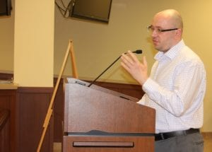 Photo by Sue Suchyta Newly appointed Wyandotte Museum Director Jesse Rose speaks at the Oct. 29 city council meeting.