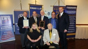 Photo courtesy of Tom Laundroche Mayor John O'Reilly Jr. (back row second from left) was on hand to congratulate the 2018 Interservice Club Council Service Club Person of the Year, Ray Scoboria (back row third from left), and nominees Jillian Rivait (front row left), Allan Schulz, David Anderson (back row left), Jim Perri and Tim Schramm.