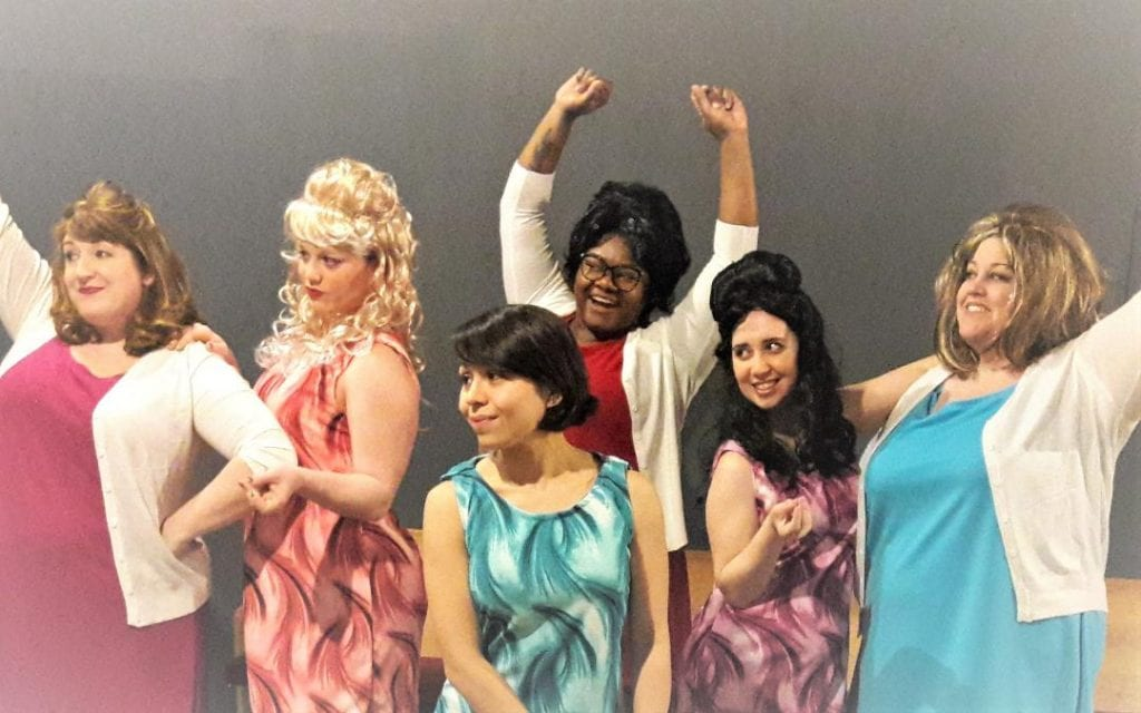 """Photo by Sue Suchyta The Downriver Actors Guild presents """"Beehive: The 60's Musical"""" Jan. 18 to 27, with Melanie Aue (left) of Taylor, Amanda Aue of Wyandotte, Sydney Villanueva of Southgate, N'Jeri Nicholson of Oak Park, Ashley Gatesy of Westland and Jami Krause of Northville. For tickets or more information, call 734-407-7020 or go to downriveractorsguild.net."""