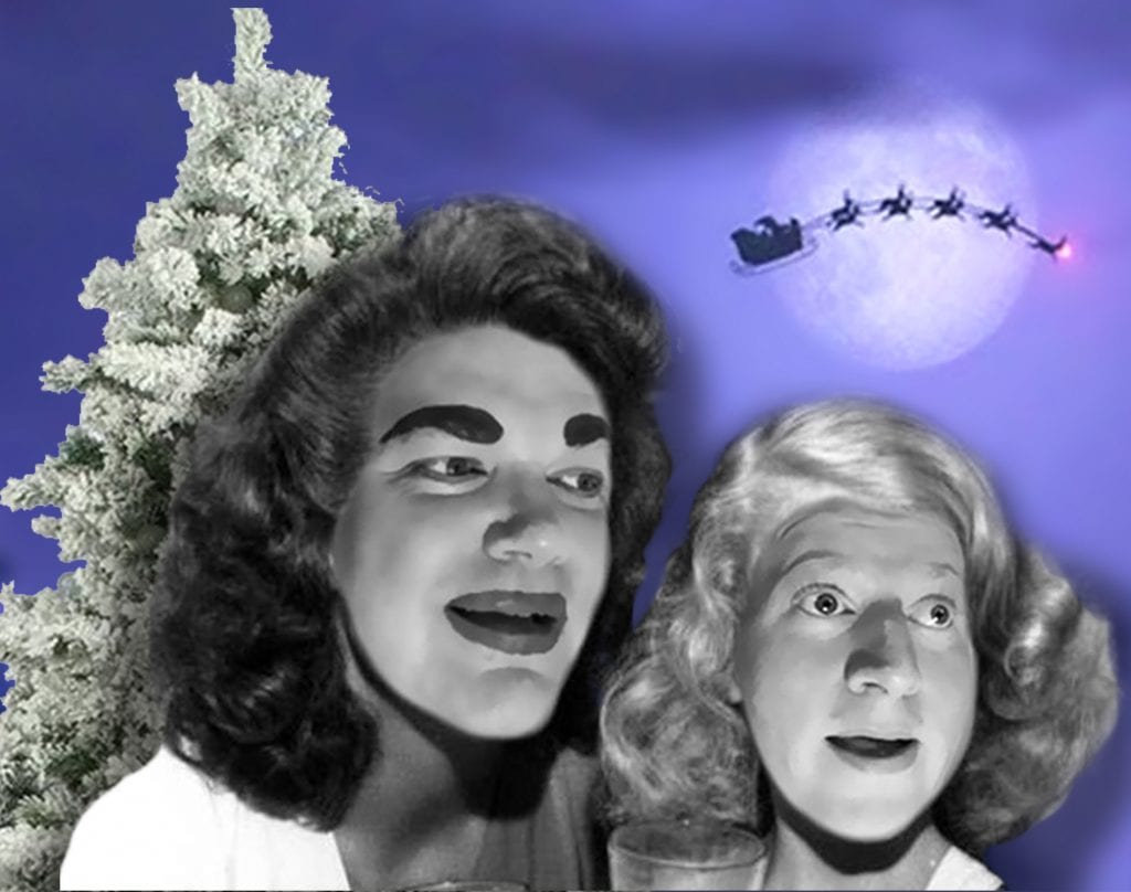 """Photo illustration courtesy of the Ringwald Theatre Joe Bailey (left) as Joan Crawford and Brandy Joe Plambeck as Christina Crawford in the holiday romp """"Merry Christmas to Everyone! (Except Christina)"""" Dec. 17 to 22 at the Ringwald Theater, 22742 Woodward, Ferndale. For tickets or more information call 248-545-5545 or go to TheRingwald.com."""