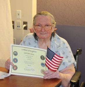 Photo by Sue Suchyta Elsie Midgett, 94, a Trenton native now living in Riverview, who served in World War II, was the first Marine in her family.