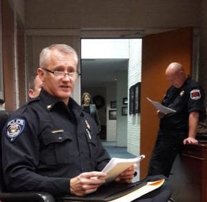 Photo by Sue Suchyta Taylor Police Chief John Blair explains the department's purchase of body worn cameras, in-car cameras and conducted electrical weapons at a Dec. 17 city council study session.