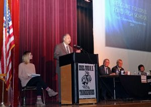 Photo courtesy of the Dearborn Public Schools Speakers address the audience during the 2018 Korematsu Day ceremony held at Edsel Ford High School. The 2019 ceremony will be held at 12:15 p.m. Feb. 1 at Dearborn High School.