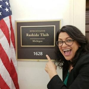 Photo courtesy of Facebook U.S. Rep. Rashida Tlaib (D-Detroit) outside of her office inside the Longworth House Office Building in Washington, D.C.