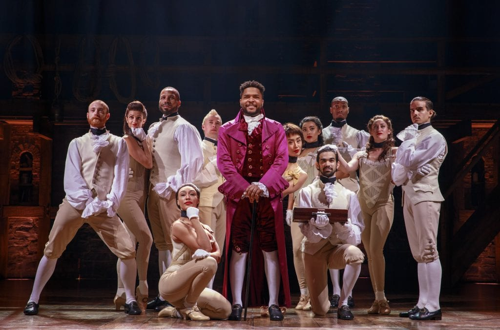 "Photo by Joan Marcus ""Hamilton"" tickets are now on sale for the March 12 to April 21 run at the Fisher Theater. For more information, go to HamiltonMusical.com."