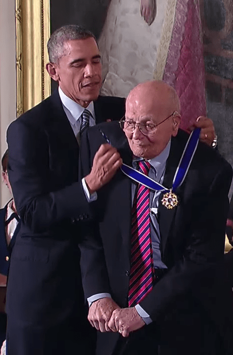 Photo courtesy of the Dingell family U.S. Rep. John Dingell receives the Presidential Medal of Freedom, one of the three highest civilian awards in the United States, from President Barack Obama on Nov. 24, 2014, at the White House.
