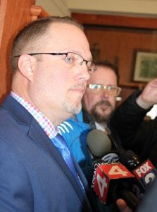 """Photo by Sue Suchyta """"I am not guilty,"""" Taylor Mayor Rick Sollars said during a brief press conference following his Feb. 21 State of the City address at the Lakes of Taylor Banquet Center. Sollars' remarks were in response to the Feb. 19 search warrants the FBI carried out on Sollars' City Hall office, his home and his vacation property."""