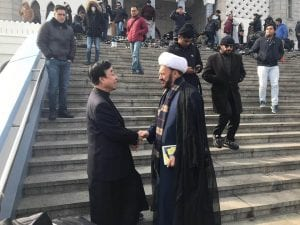 Photo courtesy of Imam Mohammad Elahi Facebook  Seoul Central Mosque Imam A. Rahman Lee Ju-Hwa (left) and Islamic House of Wisdom Imam Mohammad Elahi attend Friday prayer Feb. 8 at the Seoul Central Mosque in Seoul, South Korea.
