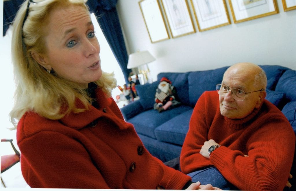 Photo courtesy of the Dingell family Debbie (left) and John Dingell relax at home in Dearborn in 2014.