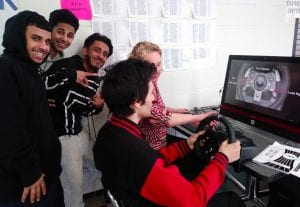Photo courtesy of Dearborn Public Schools A student tries out the driving simulator during a previous Strive for a Safer Drive event at Edsel Ford High School. This year Edsel Ford invites the public to a Community Safety Night Feb. 19 to talk about vaping, the dangers of distracted driving, and more.