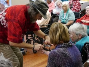 "Photo courtesy of Beaumont Rehabilitation and Continuing Care Jim Cruise, ""The Spoon Man,"" taps out tunes for the residents of Beaumont Rehabilitation and Continuing Care."