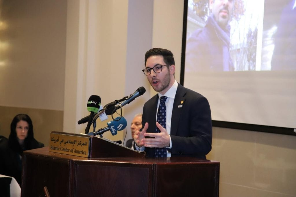 Photo by Abbas Shehab State Rep. Abdullah Hammoud (D-15th District) — speaking at Standing Together Against Hate and Terror Community Memorial March 17 at the Islamic Center of America — introduced legislation to toughen Michigan's drunken driving laws March 21.