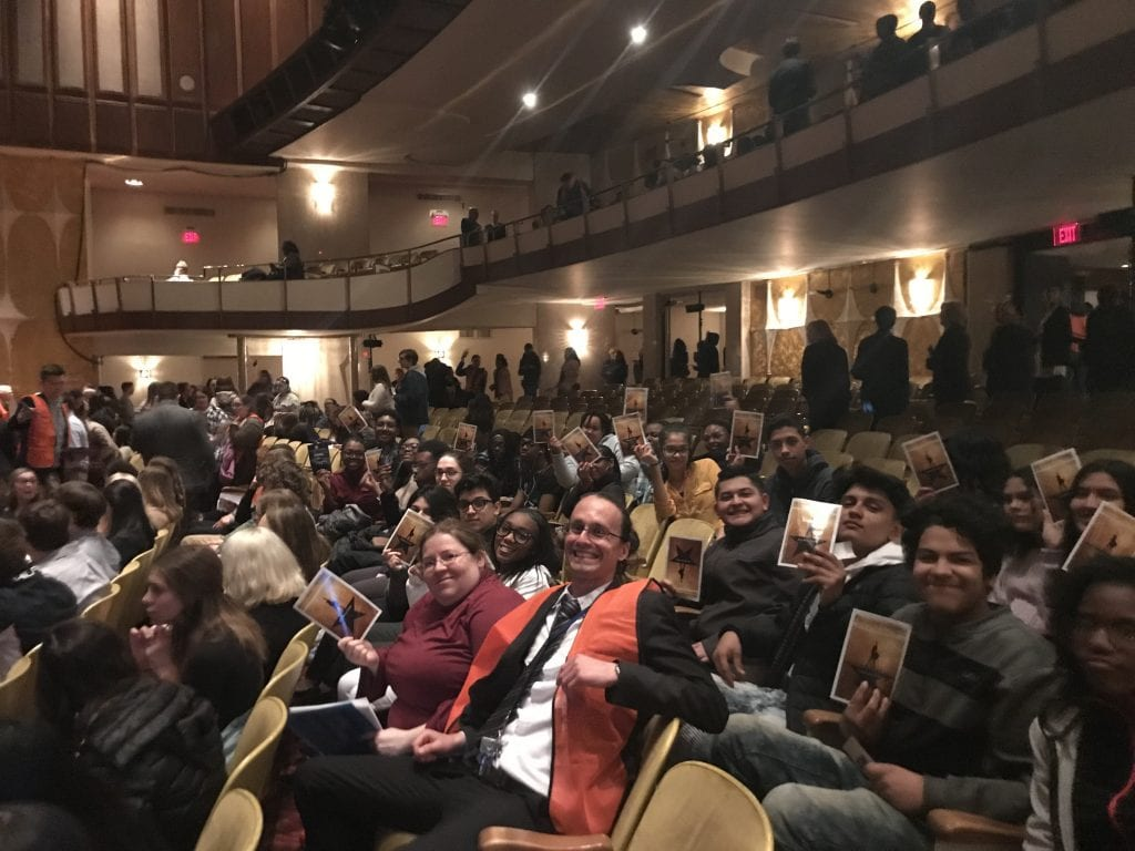 "Photo courtesy of Erik Mylenek Dearborn Advanced Technology Academy students and teachers enjoy a performance of ""Hamilton: An American Musical"" April 11 at the Fisher Theatre in Detroit as part of the Hamilton Education Program. Over 3,900 students from 59 high schools were scheduled to attend performances on April 11 as well as April 18. Students from Vista Meadows Academy in Dearborn Heights also attended April 11; students from Taylor Preparatory High School are scheduled to attend April 18. Students participated in a question-and-answer session with ""Hamilton"" company members, and some performed their original works on stage in front of their peers relating to American history as part of the Hamilton Education Program."