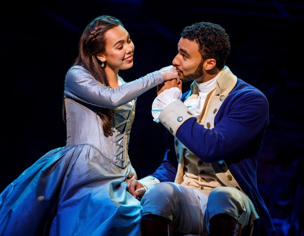 "Photo by Joan Marcus Julia K. Harriman (left) and Austin Scott star in ""Hamilton"" through April 21 at the Fisher Theater. ""Hamilton"" education program continues during the Detroit engagement, with 3,900 students and teachers from 59 area high schools attending matinee performances March 11 and 18. Students spent several weeks with a special curriculum learning about Alexander Hamilton and the Founding Fathers. For more information about tickets for the Detroit run of ""Hamilton,"" go to BroadwayInDetroit.com."