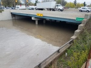 Photo by Roderick Bethea The Southfield Freeway in both directions was closed May 1 and 2 when almost 14 feet of flood water collected under Outer Drive. The freeway reopened just before 11 p.m. May 2.